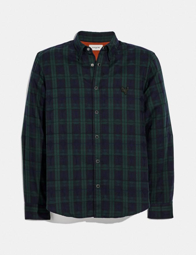 Coach Plaid Rexy Patch Shirt Navy/Green New Featured Rexy Collection