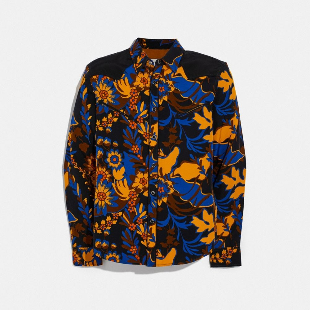 groovy floral yellow blue