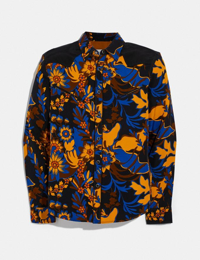 Coach Forest Floral Print Shirt Groovy Floral Yellow Blue Men Ready-to-Wear Tops & Bottoms