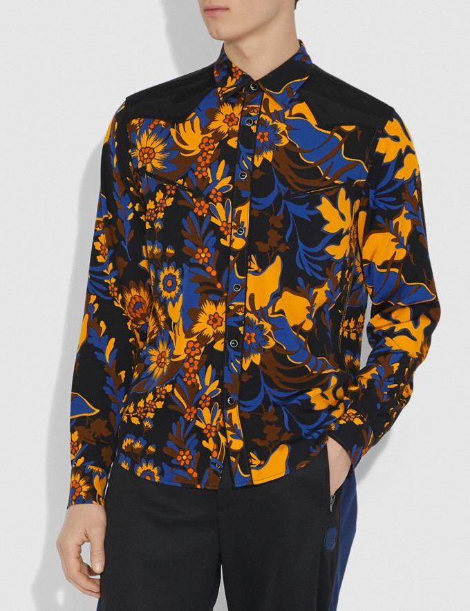 Coach Forest Floral Print Shirt Groovy Floral Yellow Blue Men Ready-to-Wear Tops & Bottoms Alternate View 1