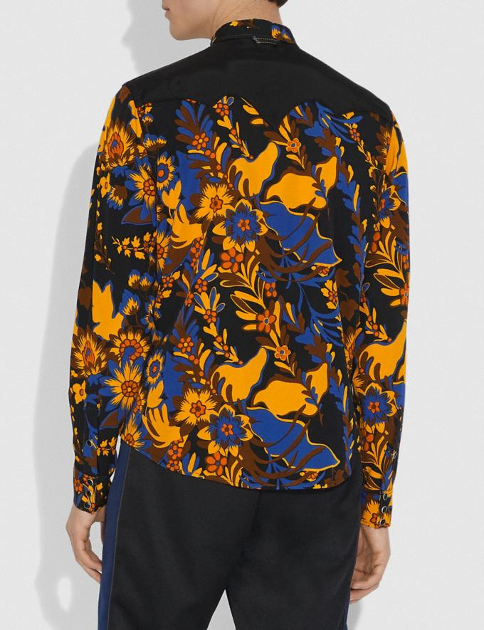 Coach Forest Floral Print Shirt Groovy Floral Yellow Blue Men Ready-to-Wear Tops & Bottoms Alternate View 2