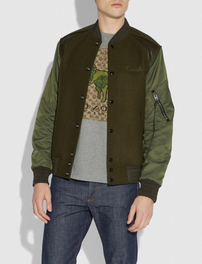 Coach Ma-1 Varsity Jacket Army Green SALE Men's Sale Ready-to-Wear Alternate View 1