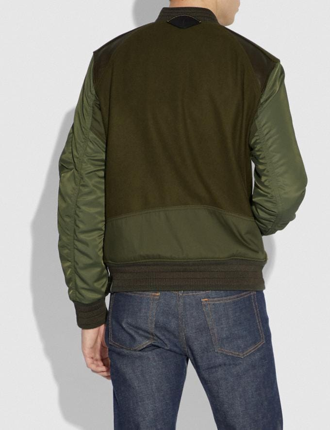 Coach Ma-1 Varsity Jacket Army Green SALE Men's Sale Ready-to-Wear Alternate View 2