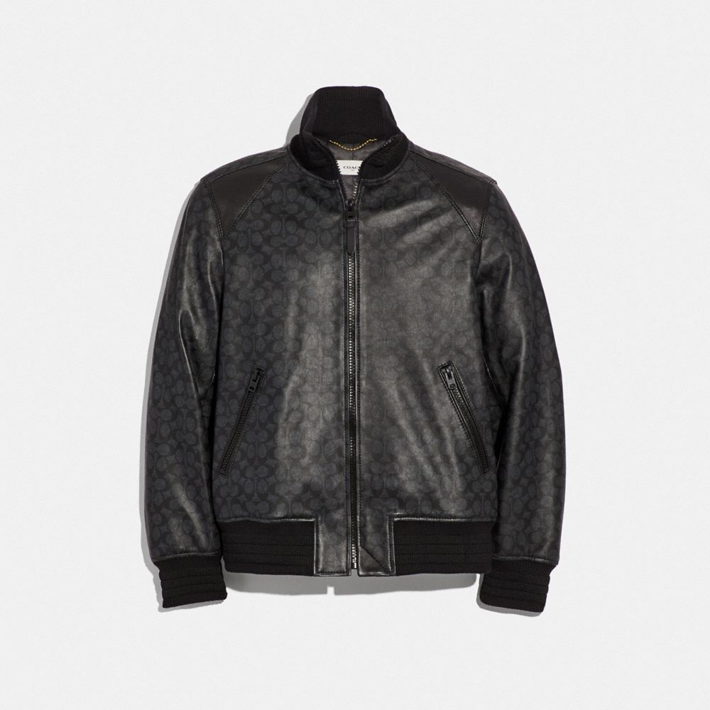 Coach Signature Leather Track Jacket