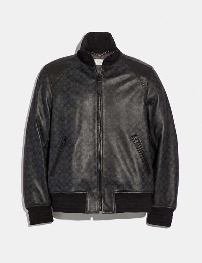 Coach Signature Leather Track Jacket Charcoal Men Ready-to-Wear Coats & Jackets