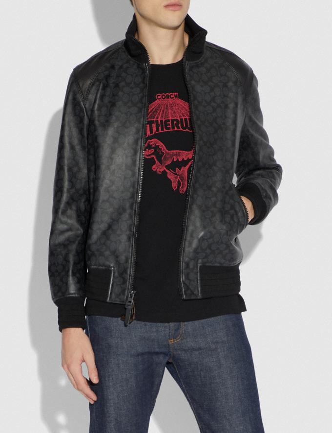 Coach Signature Leather Track Jacket Charcoal Men Ready-to-Wear Jackets & Outerwear Alternate View 1