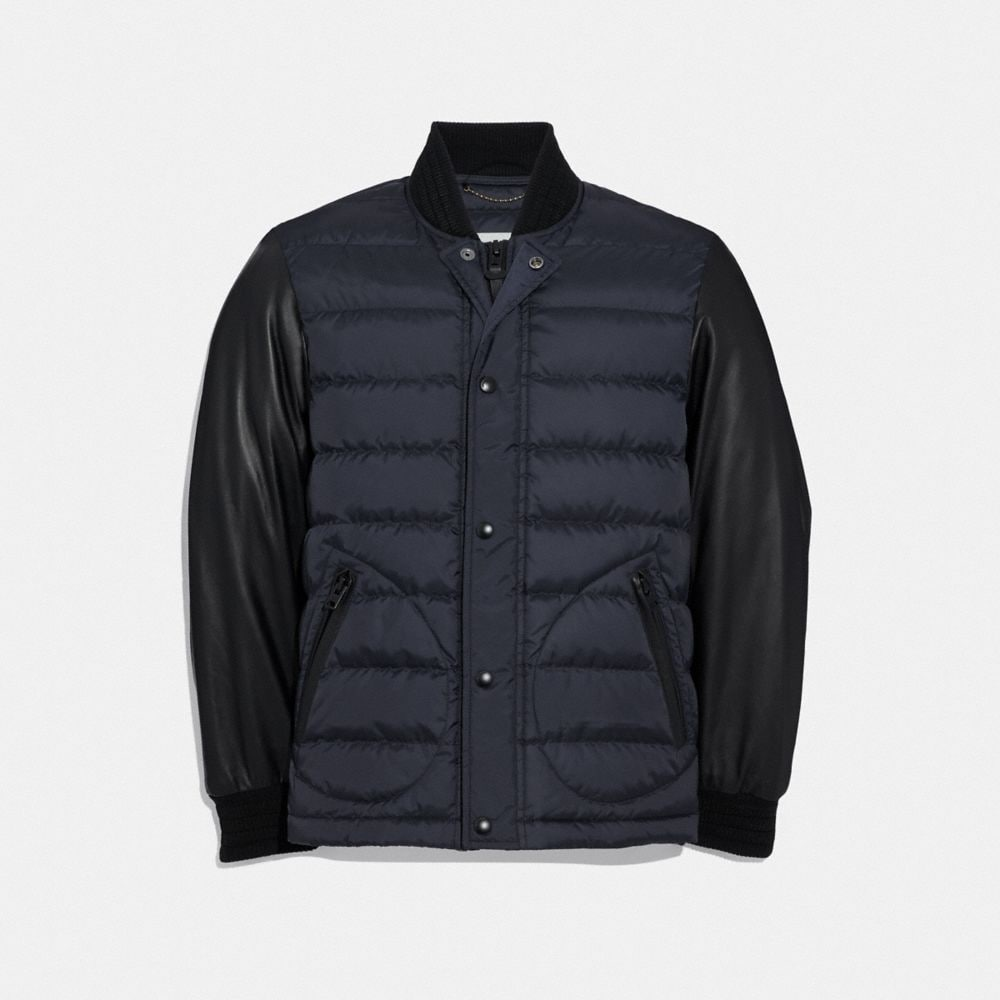 Coach Lightweight Down Varsity Jacket With Leather Sleeves