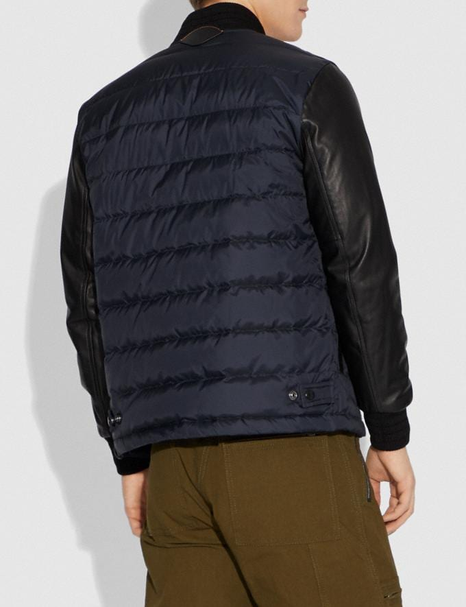 Coach Lightweight Down Varsity Jacket With Leather Sleeves Black/Navy  Alternate View 2