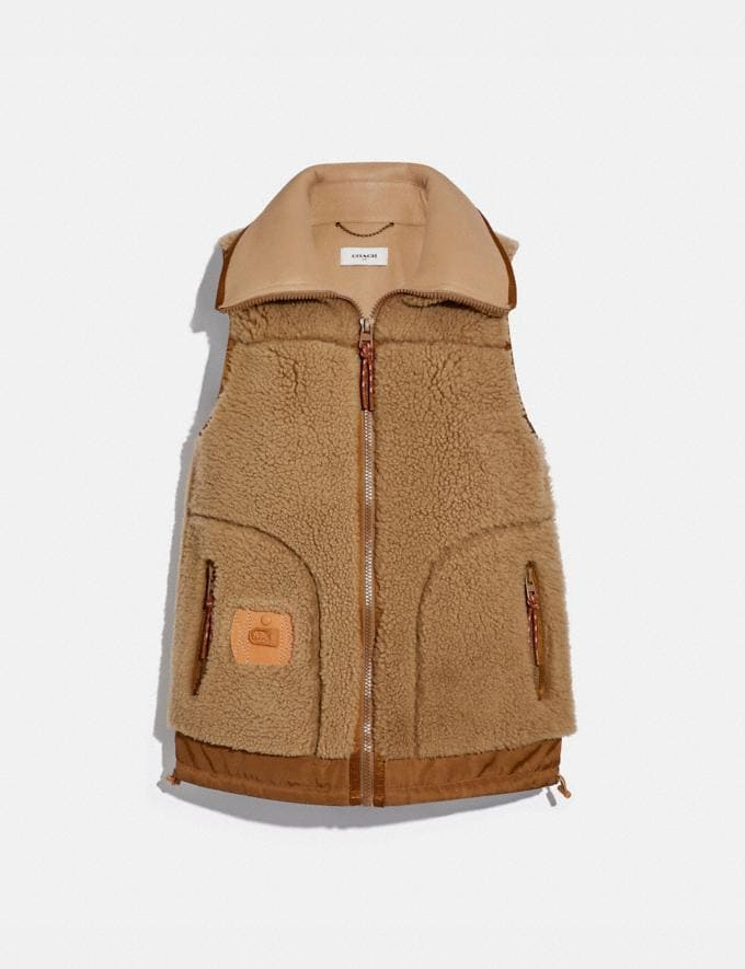 Coach Shearling Vest Camel New Women's New Arrivals Ready-to-Wear