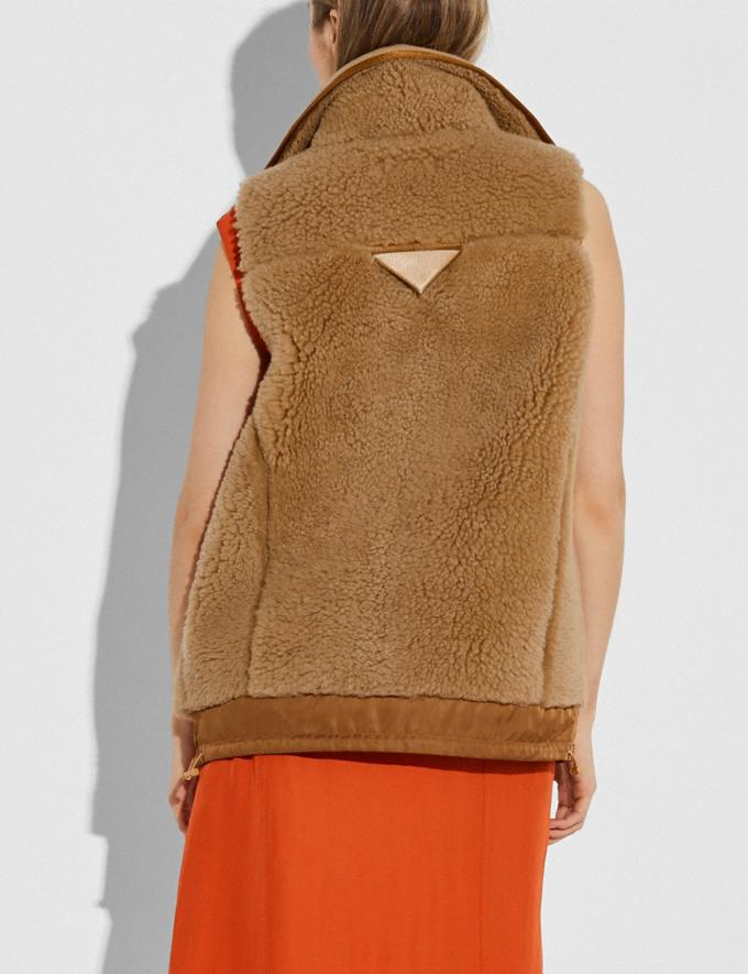 Coach Shearling Vest Camel New Women's New Arrivals Ready-to-Wear Alternate View 2