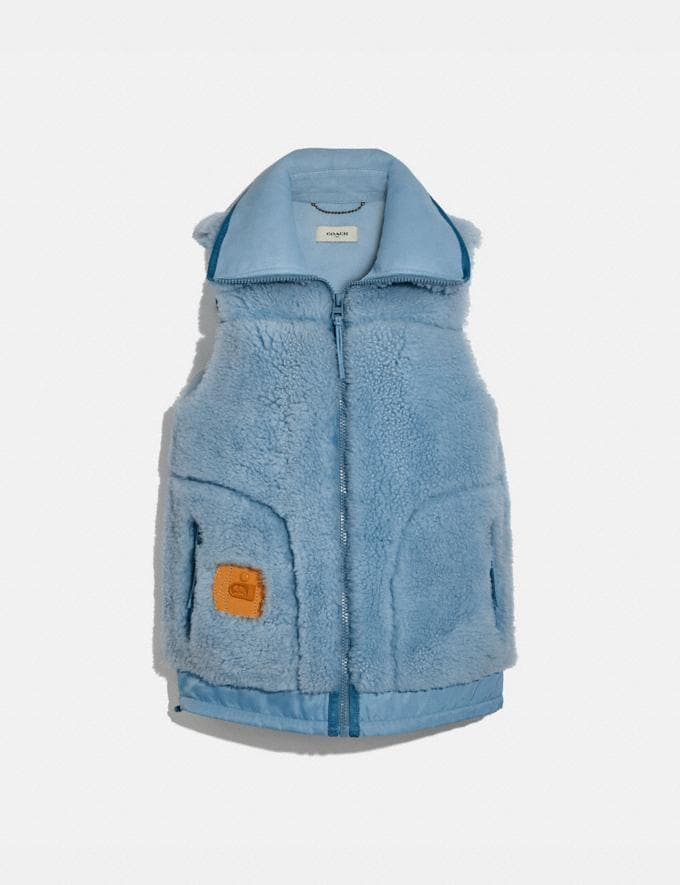 Coach Shearling Vest Powder Blue Women Ready-to-Wear