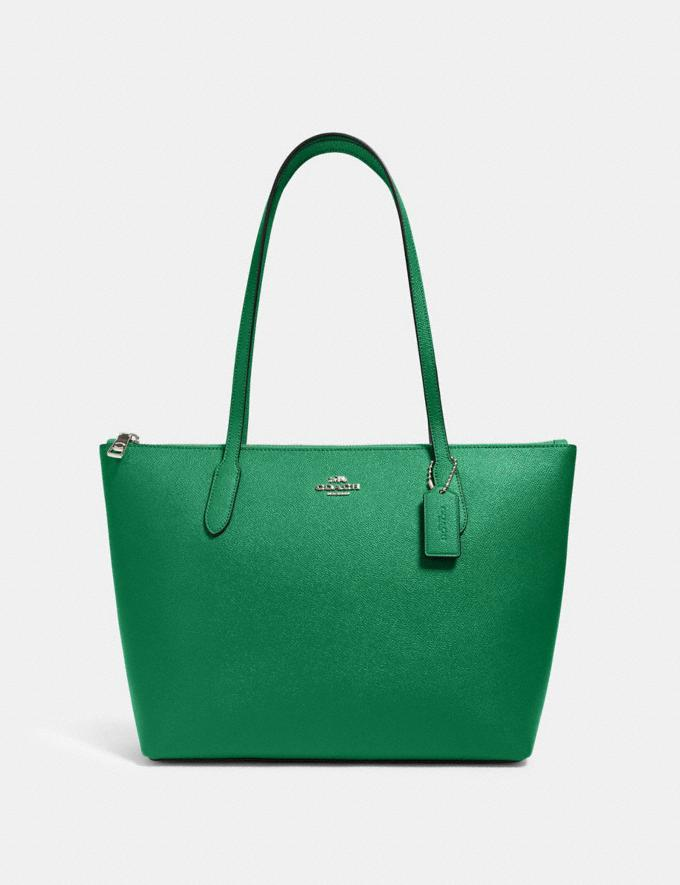 Coach Zip Top Tote Sv/Shamrock