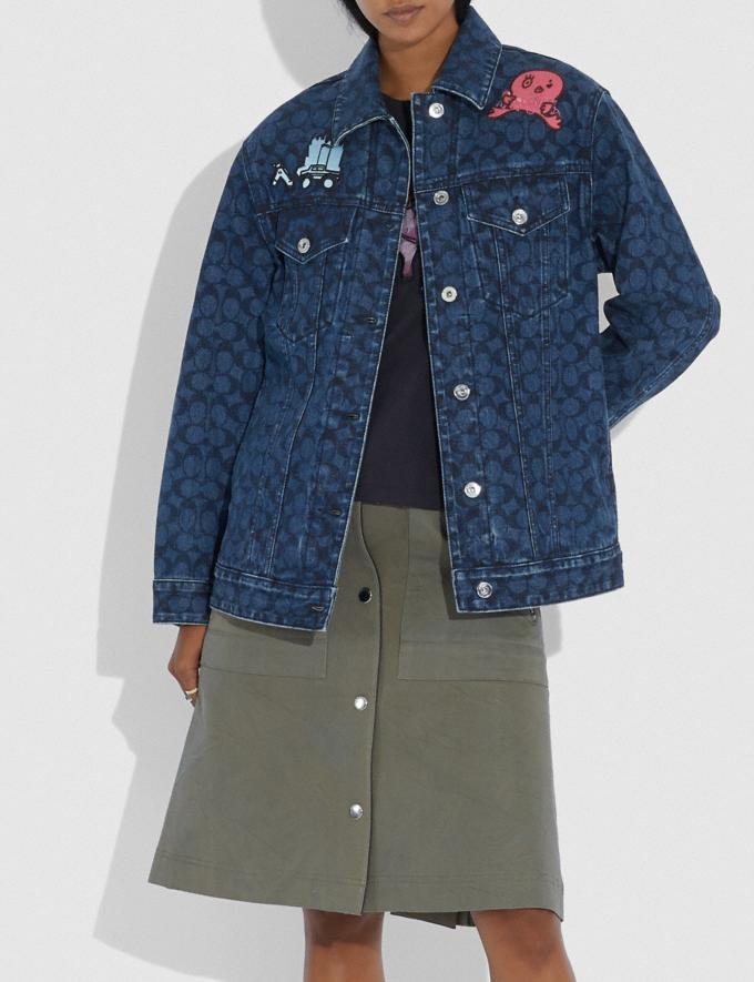 Coach Horse and Carriage Denim Jacket Indigo Women Ready-to-Wear Coats & Jackets Alternate View 1