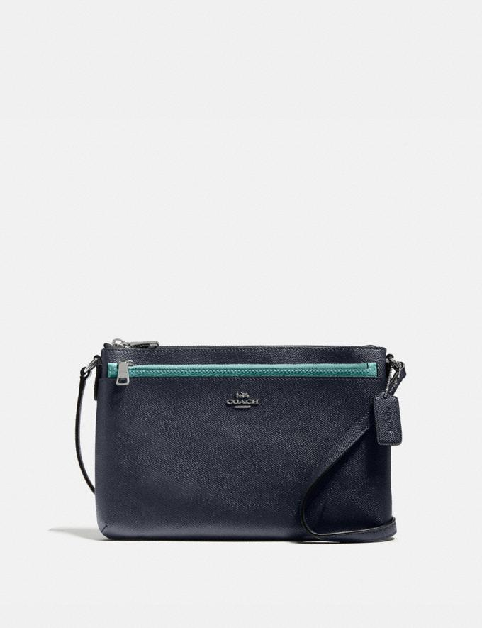 Coach East/West Crossbody With Pop-Up Pouch With Flamingo Print Silver/Midnight Multi New Women's New Arrivals Bags
