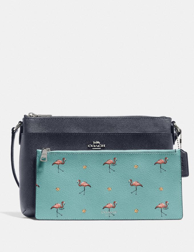 Coach East/West Crossbody With Pop-Up Pouch With Flamingo Print Silver/Midnight Multi New Women's New Arrivals Bags Alternate View 2