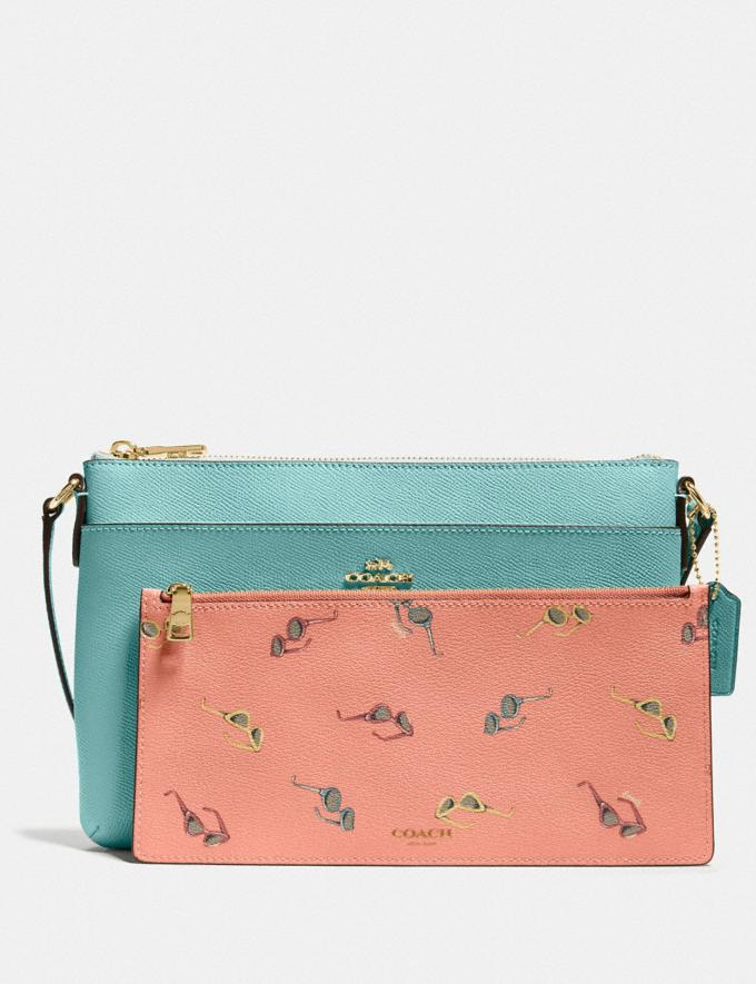 Coach East/West Crossbody With Pop-Up Pouch With Sunglasses Print Gold/Aquamarine New Women's New Arrivals View All Alternate View 2