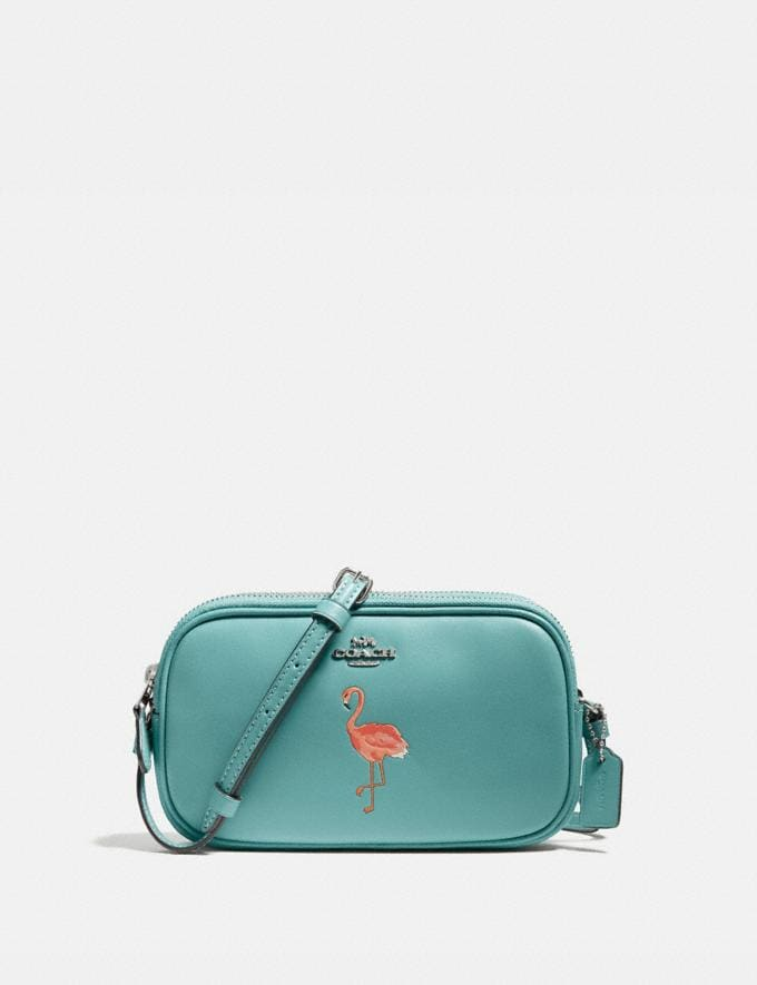 Coach Crossbody Pouch With Flamingo Motif Silver/Aquamarine New Women's New Arrivals Bags