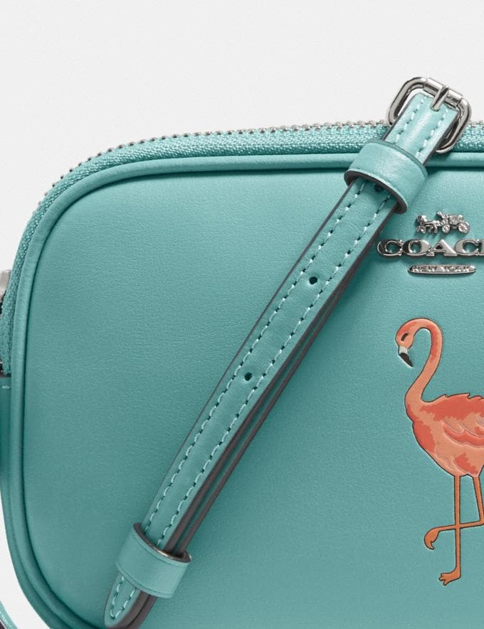 Coach Crossbody Pouch With Flamingo Motif Silver/Aquamarine New Women's New Arrivals Bags Alternate View 3