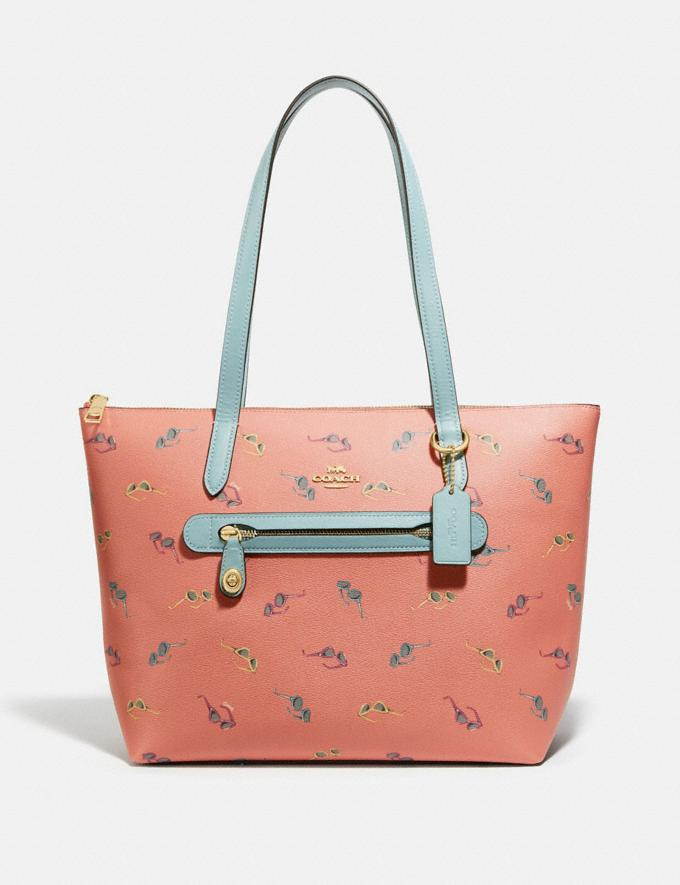 Coach Taylor Tote With Sunglasses Print Gold/Light Coral Multi Women Handbags Totes & Carryalls