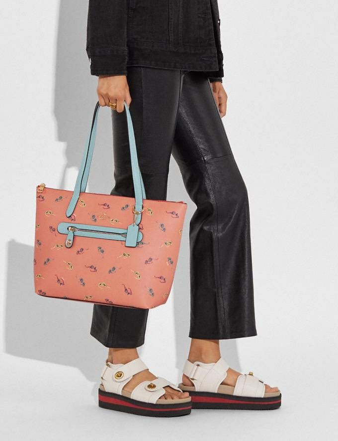 Coach Taylor Tote With Sunglasses Print Gold/Light Coral Multi Women Handbags Totes & Carryalls Alternate View 4