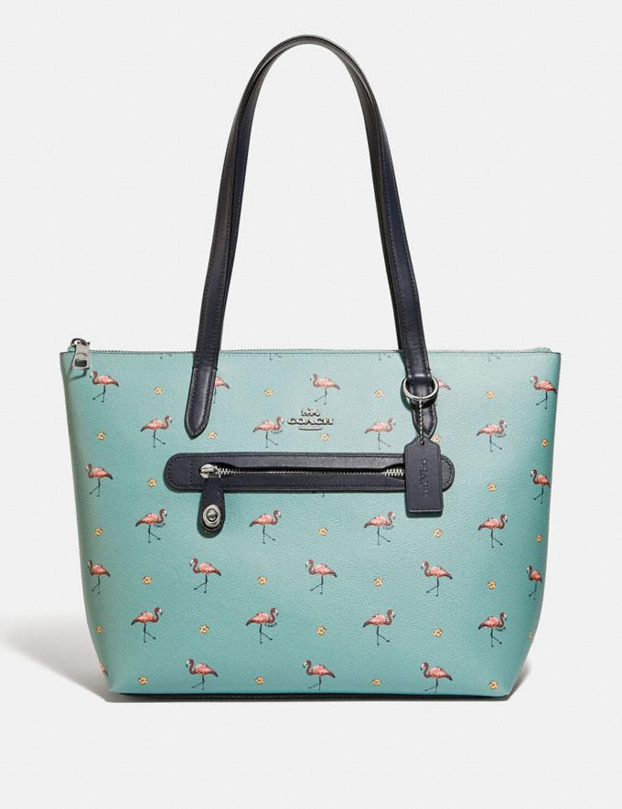 Coach Taylor Tote With Flamingo Print Silver/Aquamarine Multi Women Handbags Totes & Carryalls