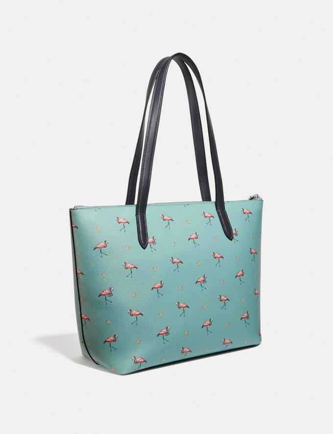 Coach Taylor Tote With Flamingo Print Silver/Aquamarine Multi Women Handbags Totes & Carryalls Alternate View 1