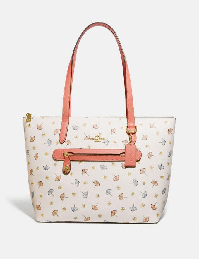 Coach Taylor Tote With Umbrella Print Gold/Chalk Multi/Light Coral Women Handbags Totes & Carryalls