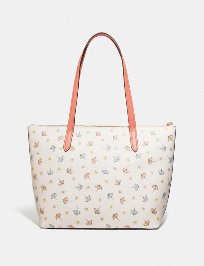 Coach Taylor Tote With Umbrella Print Gold/Chalk Multi/Light Coral Women Handbags Totes & Carryalls Alternate View 2