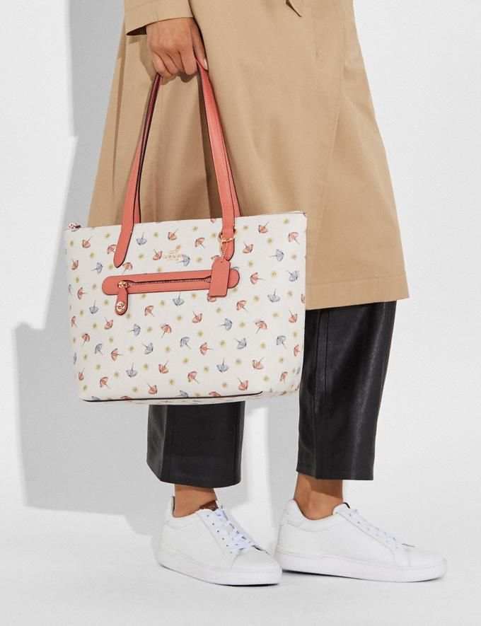 Coach Taylor Tote With Umbrella Print Gold/Chalk Multi/Light Coral Women Handbags Totes & Carryalls Alternate View 4