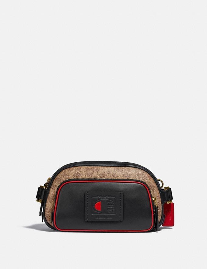Coach Coach X Champion Belt Bag in Signature Canvas Brass/Khaki Multi