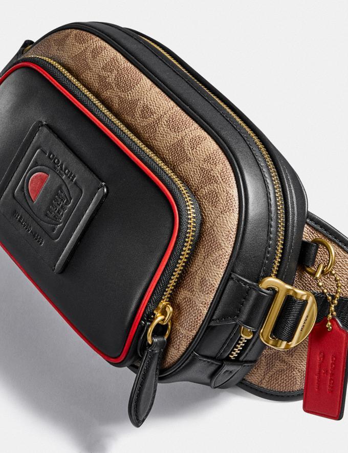 Coach Coach X Champion Belt Bag in Signature Canvas Brass/Khaki Multi  Alternate View 4