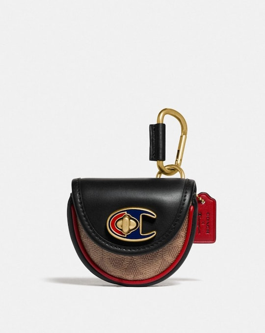 COACH X CHAMPION TURNLOCK KEY FOB IN SIGNATURE CANVAS
