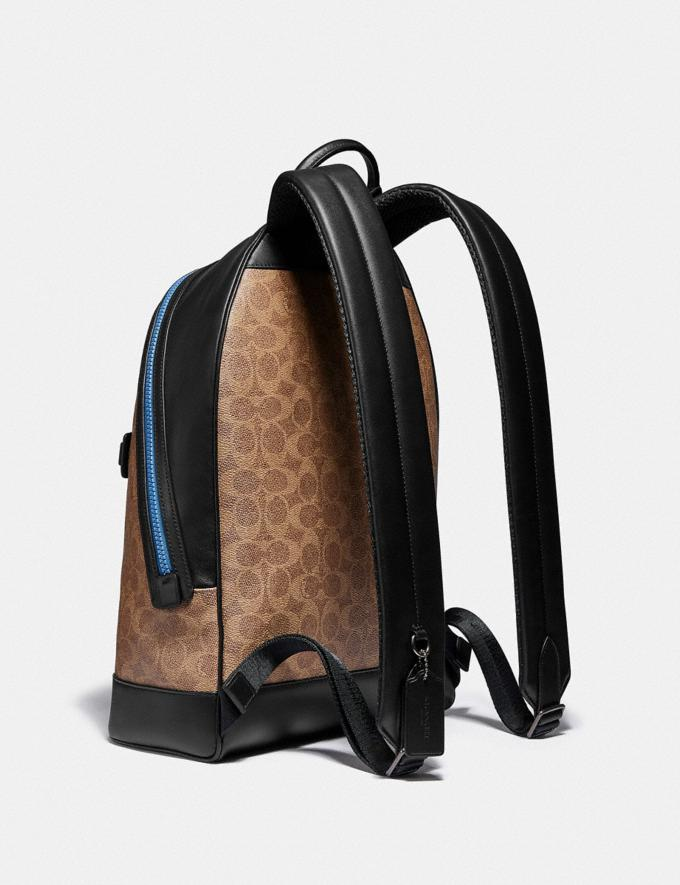 Coach Barrow Backpack in Signature Canvas With Abstract Horse and Carriage Black Copper/Khaki Multi Men Bags Backpacks Alternate View 1