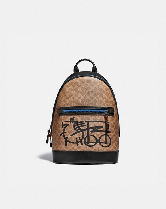 Coach BARROW BACKPACK IN SIGNATURE CANVAS WITH ABSTRACT HORSE AND CARRIAGE