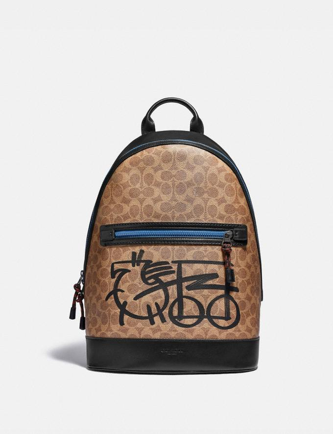 Coach Barrow Backpack in Signature Canvas With Abstract Horse and Carriage Black Copper/Khaki Multi Men Bags Backpacks