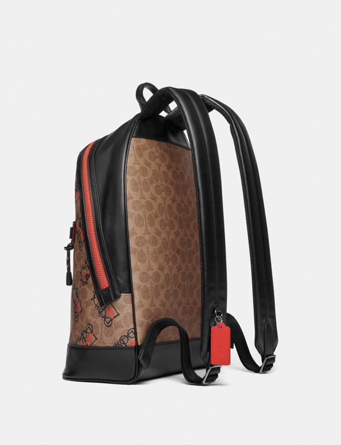 Coach Barrow Backpack in Signature Canvas With Abstract Horse and Carriage Black Copper/Khaki Multi Men Bags Backpacks Alternate View 3