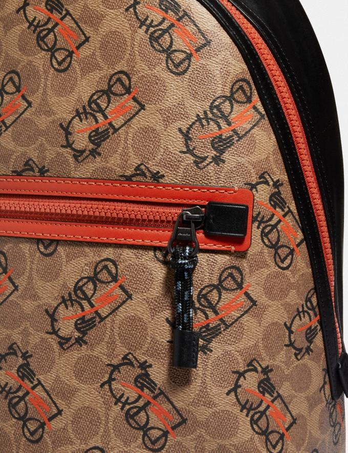 Coach Barrow Backpack in Signature Canvas With Abstract Horse and Carriage Black Copper/Khaki Multi Men Bags Backpacks Alternate View 2