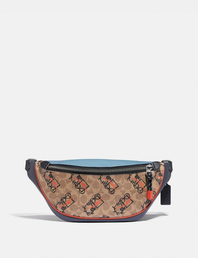 Coach Rivington Belt Bag in Signature Canvas With Abstract Horse and Carriage Black Copper/Khaki Multi Men Bags Belt Bags