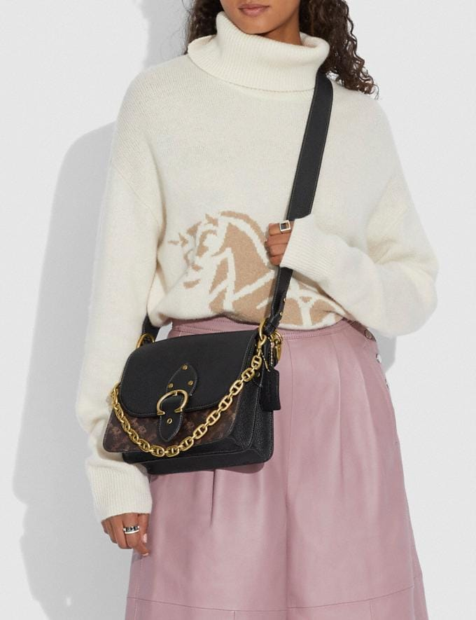Coach Beat Shoulder Bag With Horse and Carriage Print B4/Truffle Black New Women's New Arrivals Bags Alternate View 2