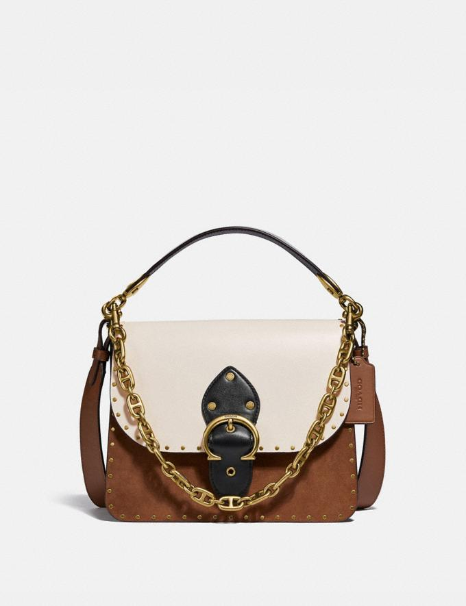 Coach Beat Shoulder Bag in Colorblock With Rivets Brass/Vintage Khaki Multi New Women's New Arrivals Bags
