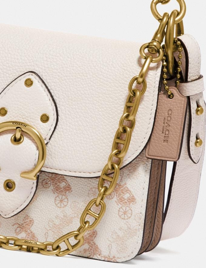 Coach Beat Shoulder Bag 18 With Horse and Carriage Print Brass/Chalk Taupe  Alternate View 6