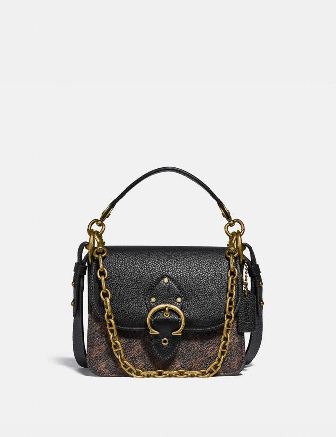 Coach Beat Shoulder Bag 18 With Horse and Carriage Print Brass/Truffle Black