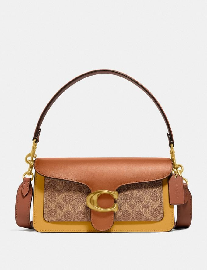 Coach Tabby Shoulder Bag 26 in Colorblock Signature Canvas B4/Tan Canyon Multi New Women's New Arrivals Bags