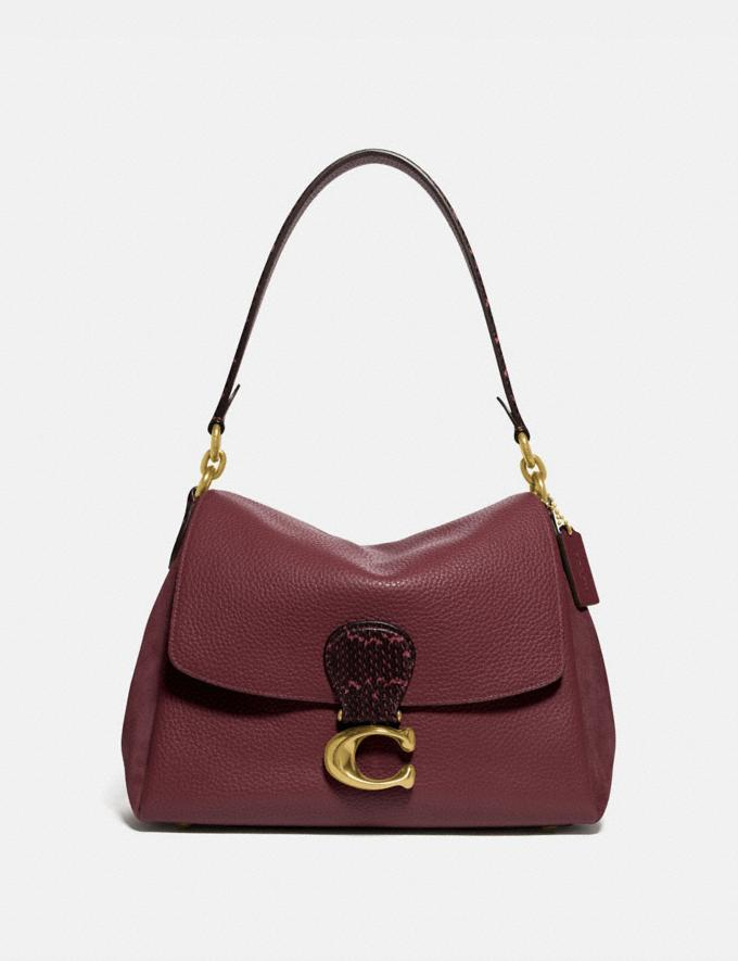Coach May Shoulder Bag With Snakeskin Detail Brass/Wine New Featured Lunar New Year