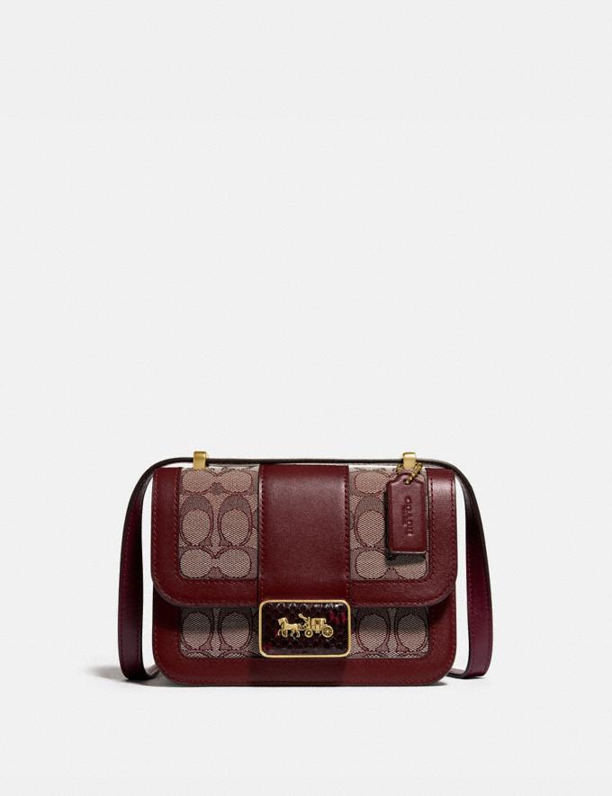 Coach Alie Shoulder Bag 18 in Signature Jacquard With Snakeskin Detail B4/Burgundy Blk Cherry Women Bags Shoulder Bags
