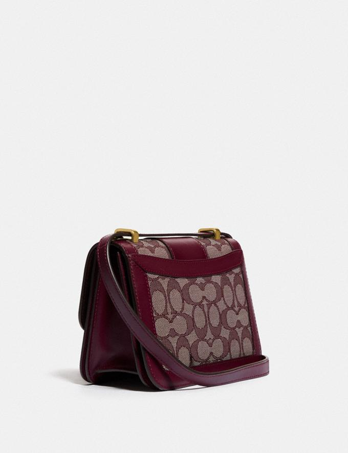 Coach Alie Shoulder Bag 18 in Signature Jacquard With Snakeskin Detail B4/Burgundy Blk Cherry Women Bags Shoulder Bags Alternate View 1