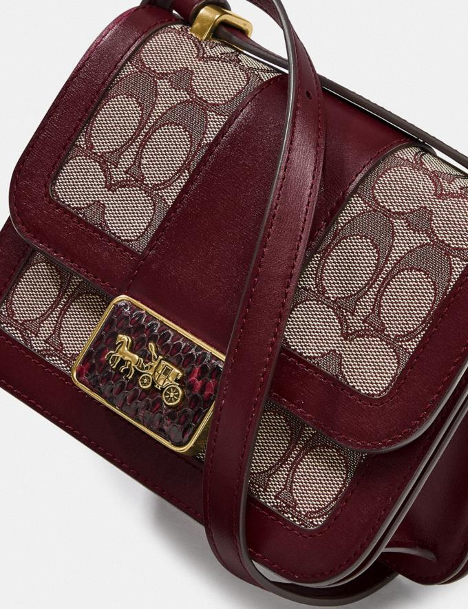 Coach Alie Shoulder Bag 18 in Signature Jacquard With Snakeskin Detail B4/Burgundy Blk Cherry Women Bags Shoulder Bags Alternate View 4