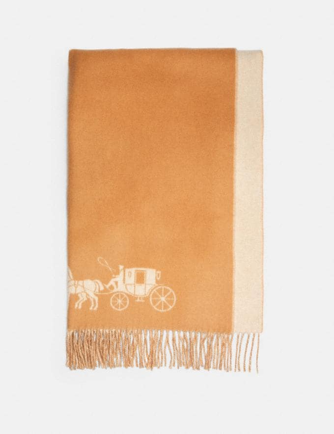 Coach Horse and Carriage Double Face Oversized Muffler Camel/Chalk Women Accessories