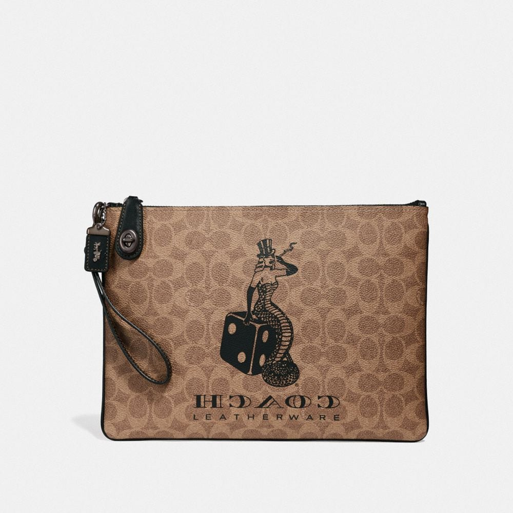 Coach Viper Room Turnlock Pouch in Signature Canvas