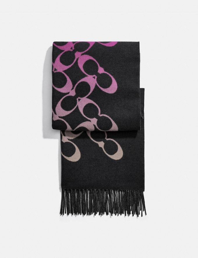 Coach Signature Oversized Muffler Black/Dark Magenta/Granite Women Accessories Scarves and Gloves